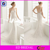 ST782 Sexy Illusion Neckline See Through Tulle Covered Exquisite Appliques Sheath Sexy Wedding Dress