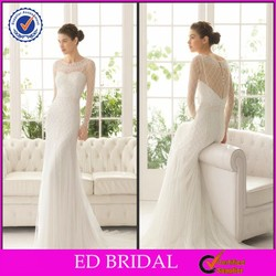 ST67 Exquisite 2015 Latest Bridal Heavy Beaded Covered Back Long Sleeve Wedding Gowns