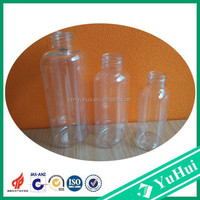 Yuyao good PET plastic non spill wholesale 50ml 100ml 150ml flat empty bottles for sale