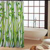 Eco-friendly printing bamboo leaves curtain, bathroom window curtains polyester fabric, mildew free shower curtain