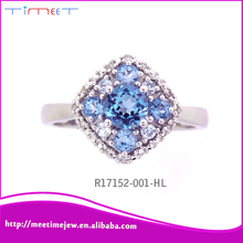 Handcrafted beautiful solitaire diamond ring 925 Sterling silver rings with blue stone