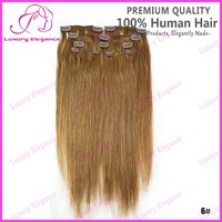 14 18 Inch 6 Pieces 6# Light Brown Clip In Hair Extensions Brazilian Human Hair Weave
