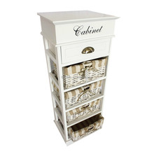 5 Drawer Storage Unit Wood Wicker Tower Bins Cabinet Baskets Shelves Organizer