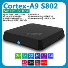 internet tv box 2gb ram 16gb rom Amlogic S802 M8 2.0GHz Quad Core Google TV Box XBMC 13.2 EM8