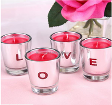 Eletroplating Silver Color Candle Holder Jar with Red Soy Wax Romantic Logo LOVE