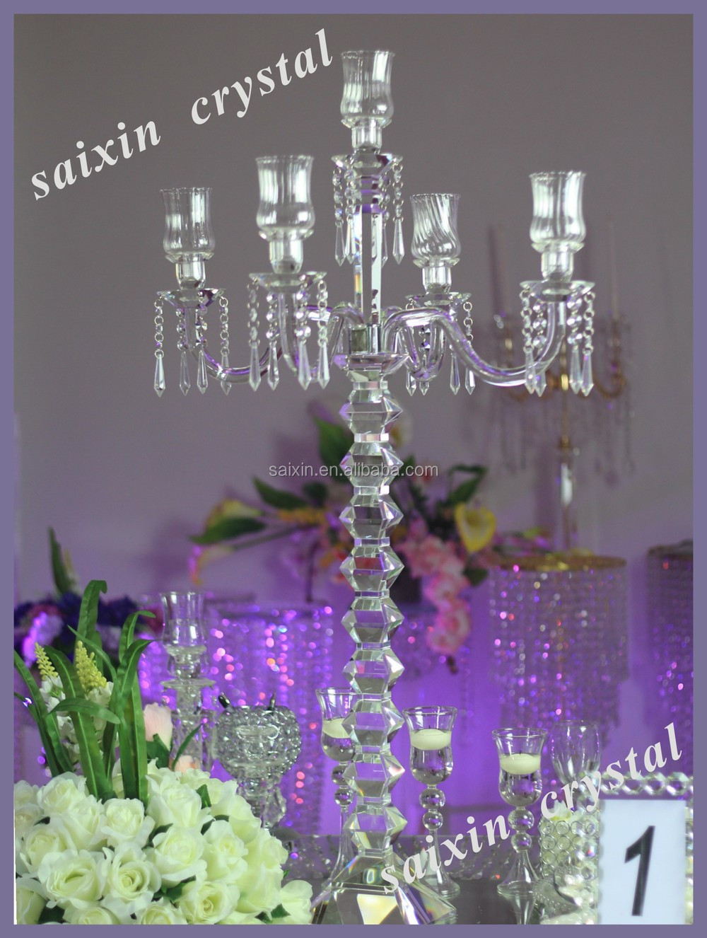 Shiny Crystal Wedding Flower Stands For Wedding Decoration View