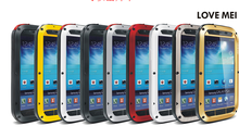LOVE MEI Metal Aluminum Shockproof Dirtproof Waterproof Gorilla Glass Case Aluminum Metal Cover Case For Galaxy S4