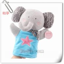 lindo de felpa mano elefante títere juguete