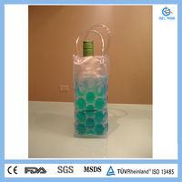 Green Liquid Clear PVC Gel Wine Cooler Bag