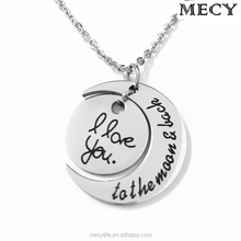 MECY LIFE Stainless steel I love you to the moon and back Necklace hot selling stainless steel necklace