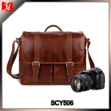 China manufacturer dslr camera bag popular fashion messenger Leather Camera bag