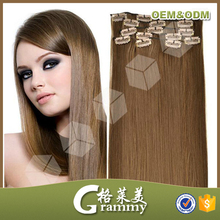 hot sale hightest quality 6A grade clip in hair extensions for children