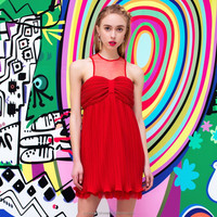 YIGELILA Brand 61032 Summer New Vintage Strapless Mesh Patchwork Red Pleated Sexy Dress Mini Dress