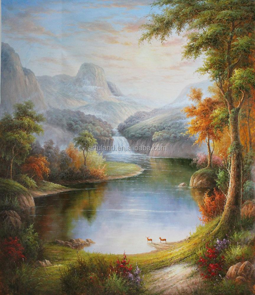 cinese colorato montagna paesaggio dipinto ad olio con acqua arte ...