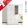 stylish white student clothes cabinet locker / two layers 6 doors metal closet with shelf support