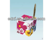 fancy paper cube holder with pen supplier