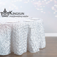 White Color Fancy Rosette Satin Table Cloth