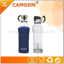 Hot selling bpa free 570ml transparent glass water bottle with flip lid