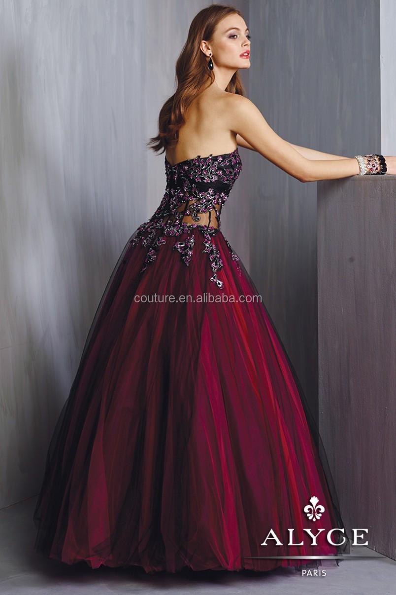 Vestido fiesta color burdeos