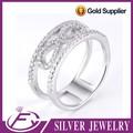 Micro pave anillo de bodas de plata diseño elegante 925