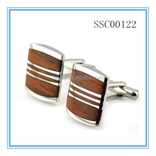 Stainless Steel & Red Wood Cufflinks for Men