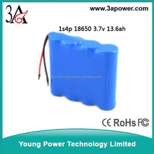 custom 1s4p 3.7v 13.6ah li-onbattery pack for outdoor solar light with bms electric bike light battery pack