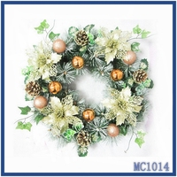 Cheap wholesale used commercial christmas decorations gold flower multi colors ball fast delivery christmas wreath