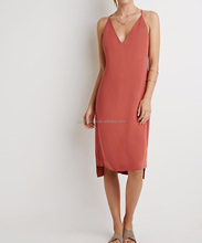 pink sleeveless evening dress for mid aged women lady dress with crossed strap at back V neck dress