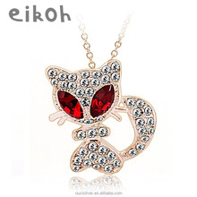 OUXI adorable big eyes cat shaped crystal jewelry earrings 10067