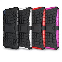 Rugged protective hybrid shockproof case with stand for htc desire 820