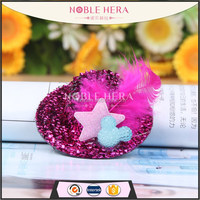 Lovely star/feather hair clip mini top hat hair clips for kids