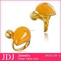 14 K chapado en oro de la joyería de moda con amarillo Jade en mate cepillado acabado