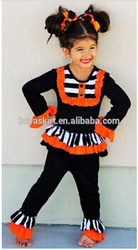 2015 new fashion baby girl outfit BLACK & ORANGE STRIPES & RUFFLES HALLOWEEN INFANT TODDLER GIRLS BOUTIQUE OUTFIT