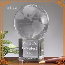 customized crystal globe ball decoration,engraving globe ball with base