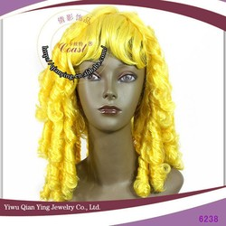 Long yellow tight curly synthetic carnival halloween party wig