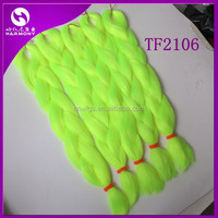 (50 packs TF2106, 80grams/pack) STOCK neon yellow synthetic braiding hair extensions/synthetic jumbo braid box hair
