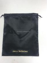 logo printed drawstring wholesale black satin lingerie bags