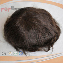 Lace Front Toupee, Human Hair Brown Color mixed Grey Color Back PU Poly Mens Toupee