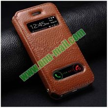 Double Caller ID Display Window 100% Real Leather Case for iPhone 5