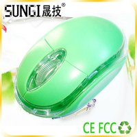 new style bling wired computer green mouse
