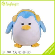 Fat blue penguin with earphone plush penguin plush stuffed marine animal toy