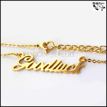 2014 jewelry gold plated name pendant women simple o chain personalised necklace