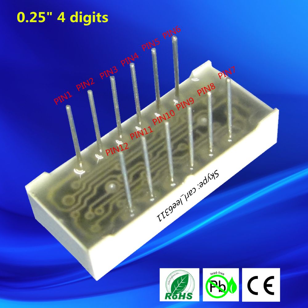 0.25 inch mini number sign ultra red 4 digit 7 led segment display