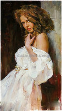 Girl with white dress oil painting wholesale fine art