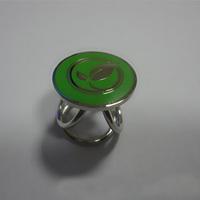 Elegant tricyclic cheap green pattern enamel metal scarf ring wholesale