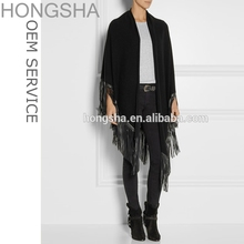 Knitted Shawl Knitwear Latest Design Leather Suede Fringed Knit Poncho HSC48230