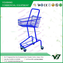 Hot sell good cheap zinc with powder two layer shopping wire basket trolley (YB-J003)