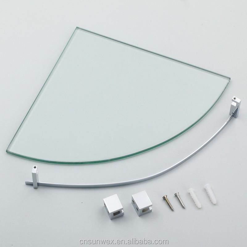 Laiton salle de bains coin tag re en verre palier Etagere salle de bain en verre