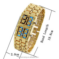 China supplier japanese blue light gold samurai led watch