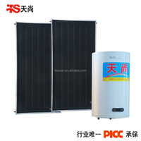 Split pressurized solar water heater (system) with flat plate solar collector and dual coil cylinder